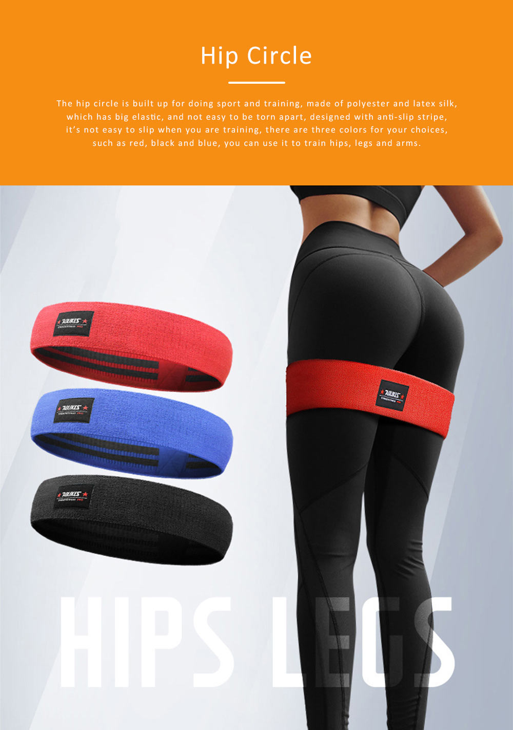 Yoga Band Polyester Latex Material for Training Elastic Resistance Ring Hip Circle 0