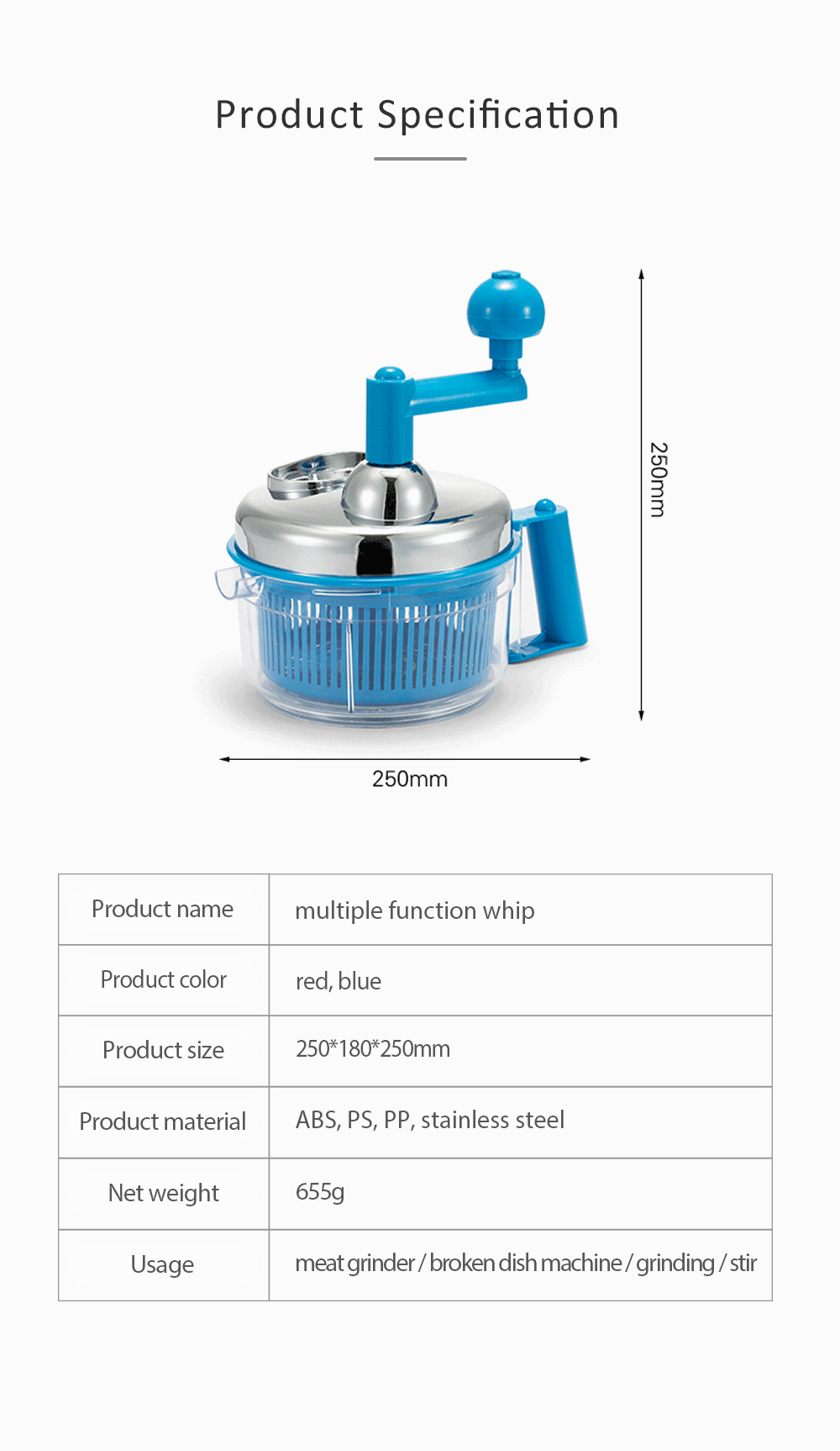 Meat Grinder Stainless Steel ABS Material Practical Slicer for Foods Cutter Multifunctional Mangler 6