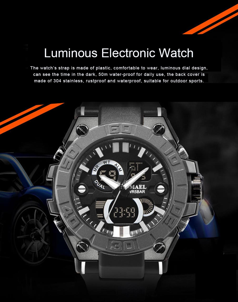 New Watch for Men Outdoor Sports Waterproof Double Display Multifunctional Luminous Electronic Watch 0