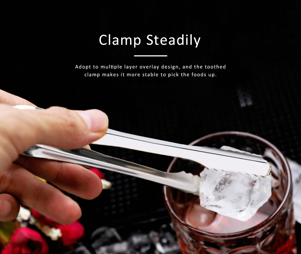 Stainless Steel Food Tong for Bread Barbecue Durable Ice Nip Thickened Kitchen Tool Clip 2