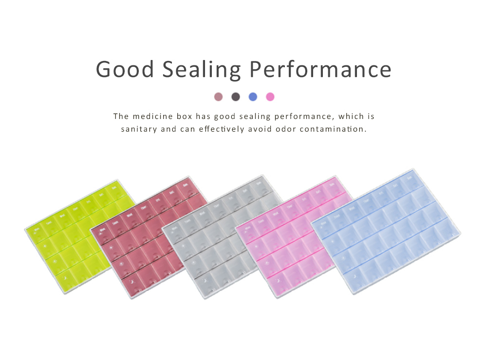 Mens Large Capacity Pill Box, 14/21/28 Squares 7 Days Organizer Box Tablet Pill Sorter for Household Portable Container 1