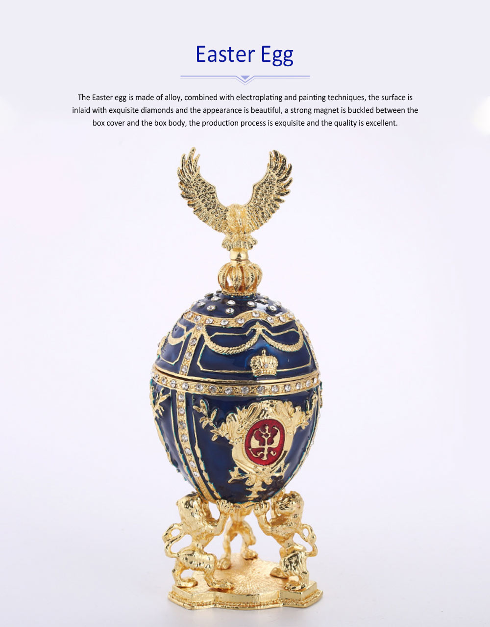 Easter Egg Russian Style Gold Plated Enamel Color Creativity Metal Handiwork Decoration Painting Egg Jewelry Box 0