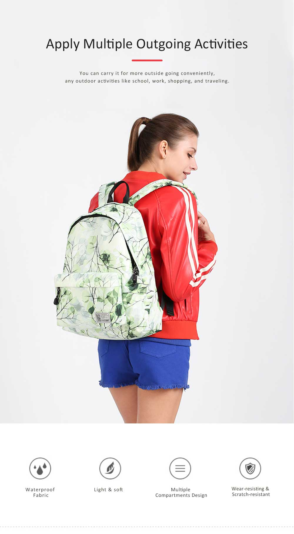 Women Backpack Polyester Durable with Zinc Alloy Zipper Waterproof Fashionable Women Pack-sack 2