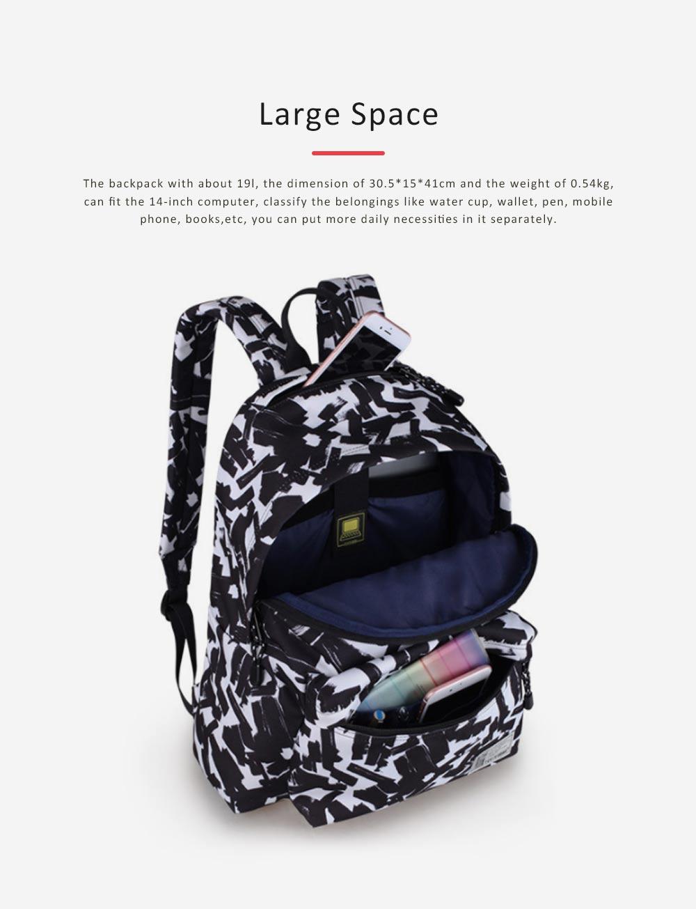 Unisex Black-white Backpack for Travel, Fashionable School Backpack for 14 inch Laptop 2