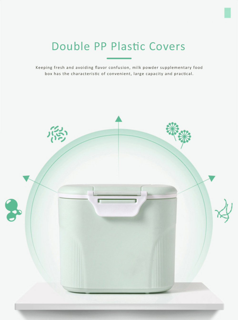 Double Covers Portable Milk Powder Box, Large Capacity Snack Box PP Material Feeding Container Dispenser 3