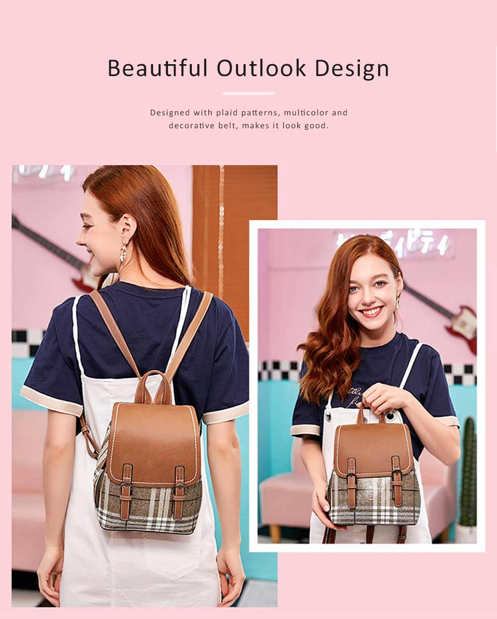 Fashionable Plaid Backpack for Women, Waterproof Backpack with PU Leather Buckle Stainless Steel Zipper Backpack 2