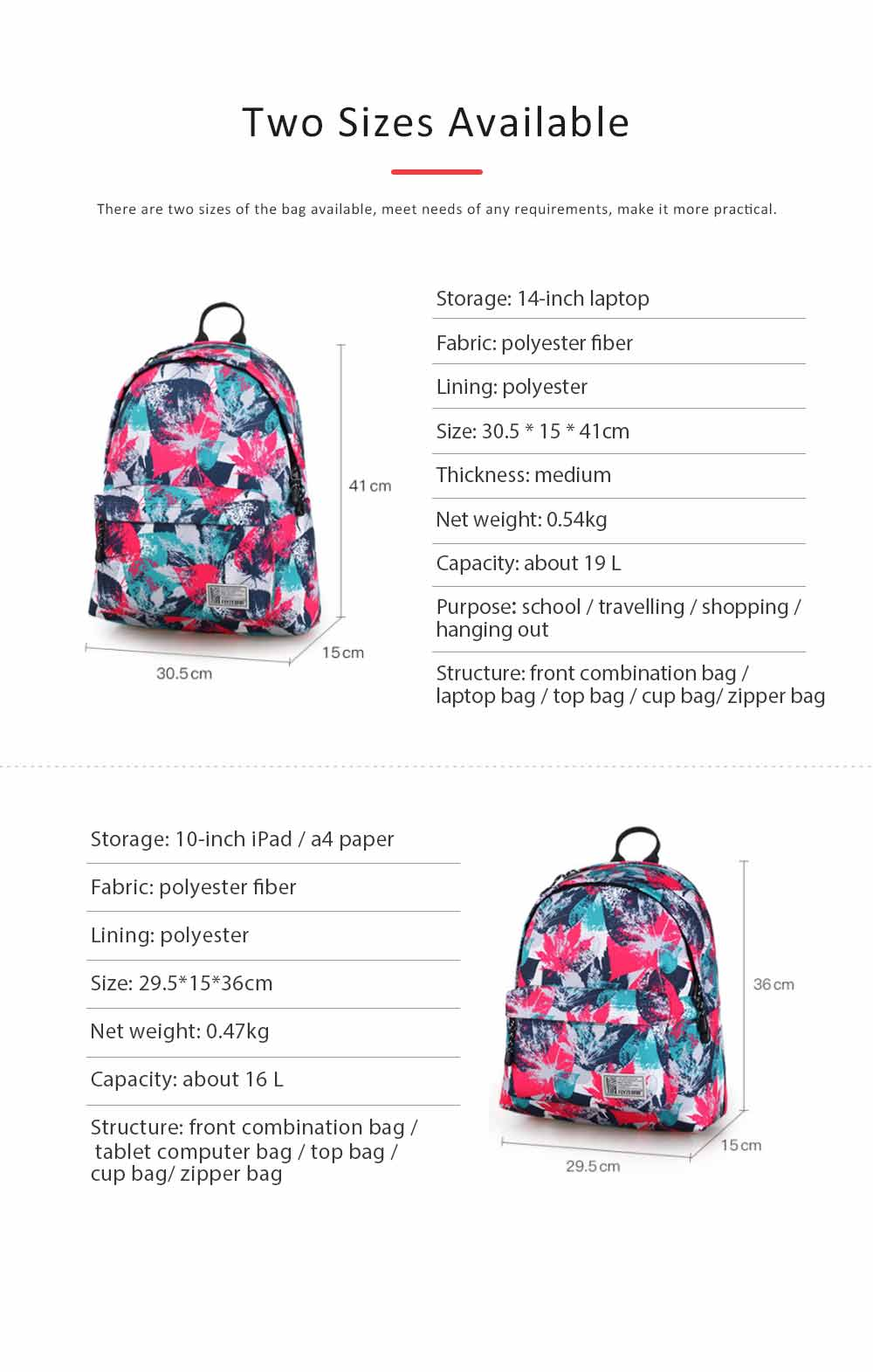 Fashion Leaves Printed Backpack with Stainless Steel Zipper, Large Capacity Casual School Backpack for Students, Teenage 7