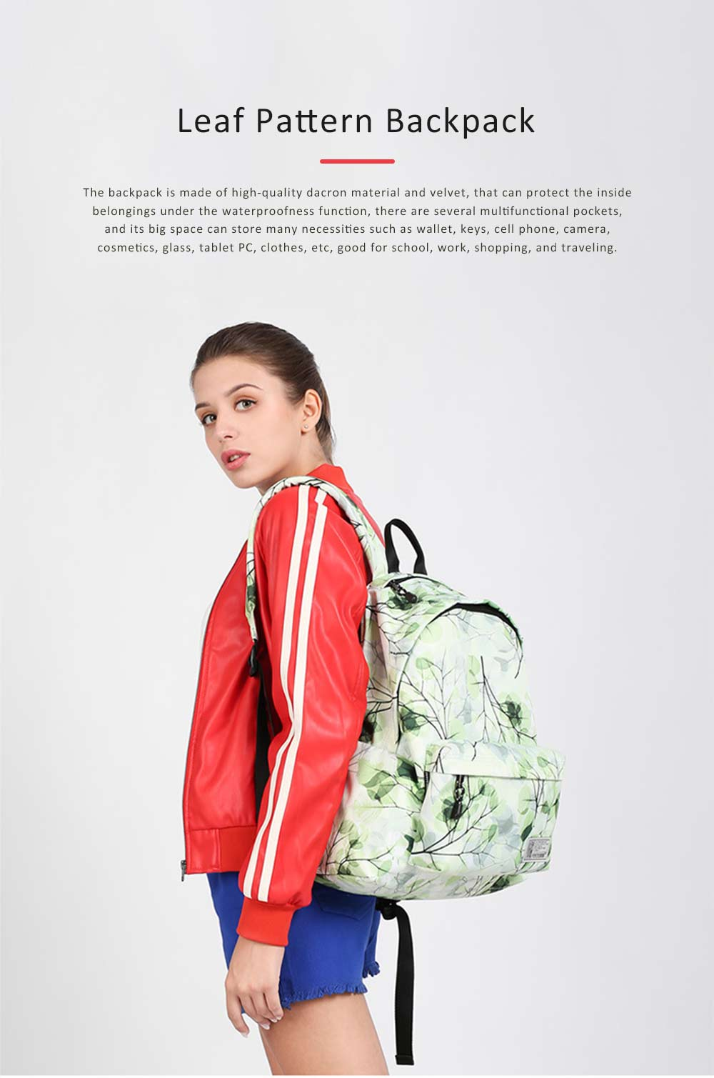 Women Backpack Polyester Durable with Zinc Alloy Zipper Waterproof Fashionable Women Pack-sack 0