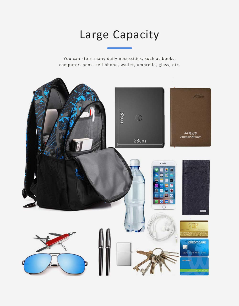USB Charge Port Backpack for Notebook, Laptop, Waterproof Oxford School Bag for Students, Traveling 4