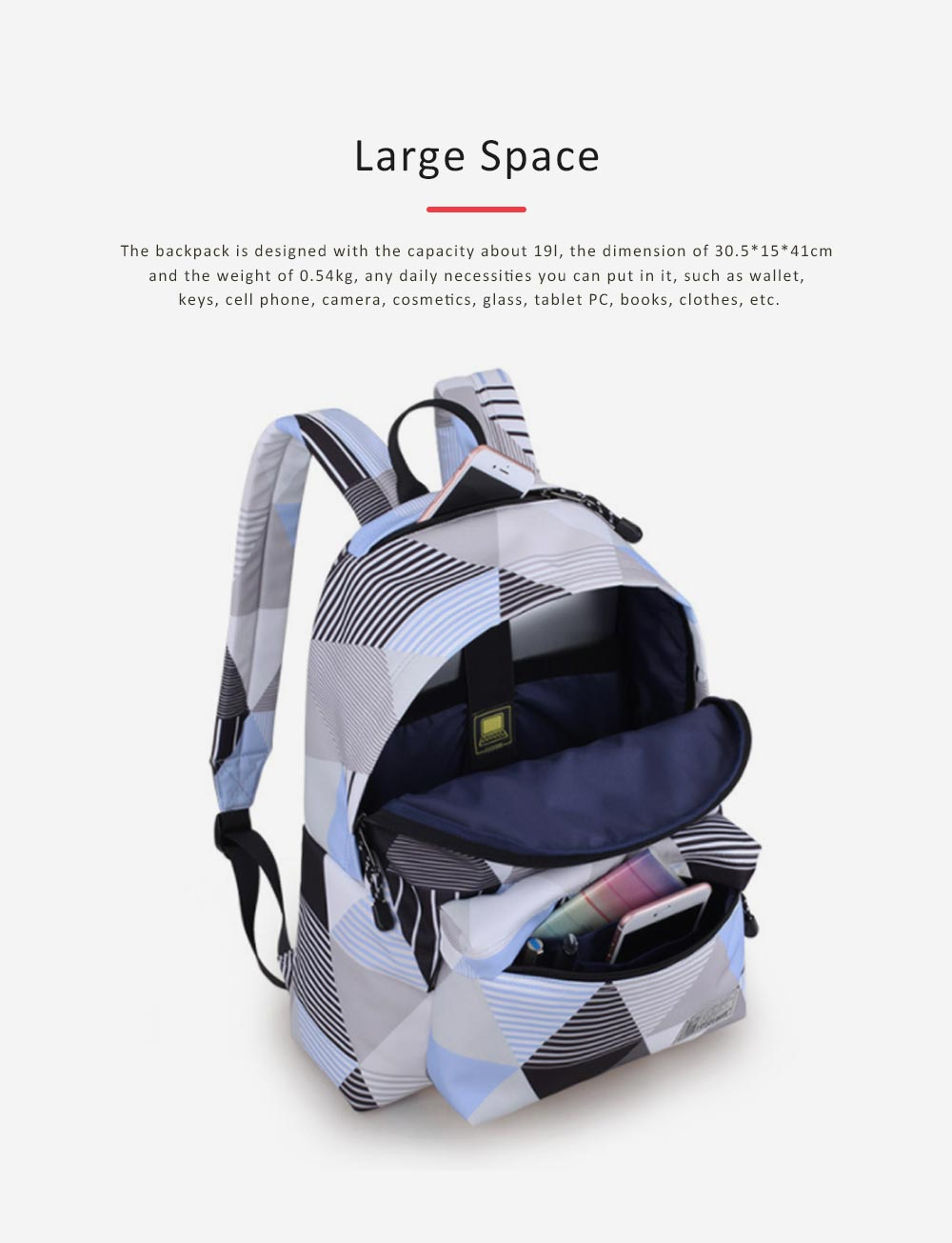 Geometric Figure Backpack for Students, Fashionable Large Capacity Casual Bag with Superior Zipper, Compatible with 10~14 inch Laptop 2