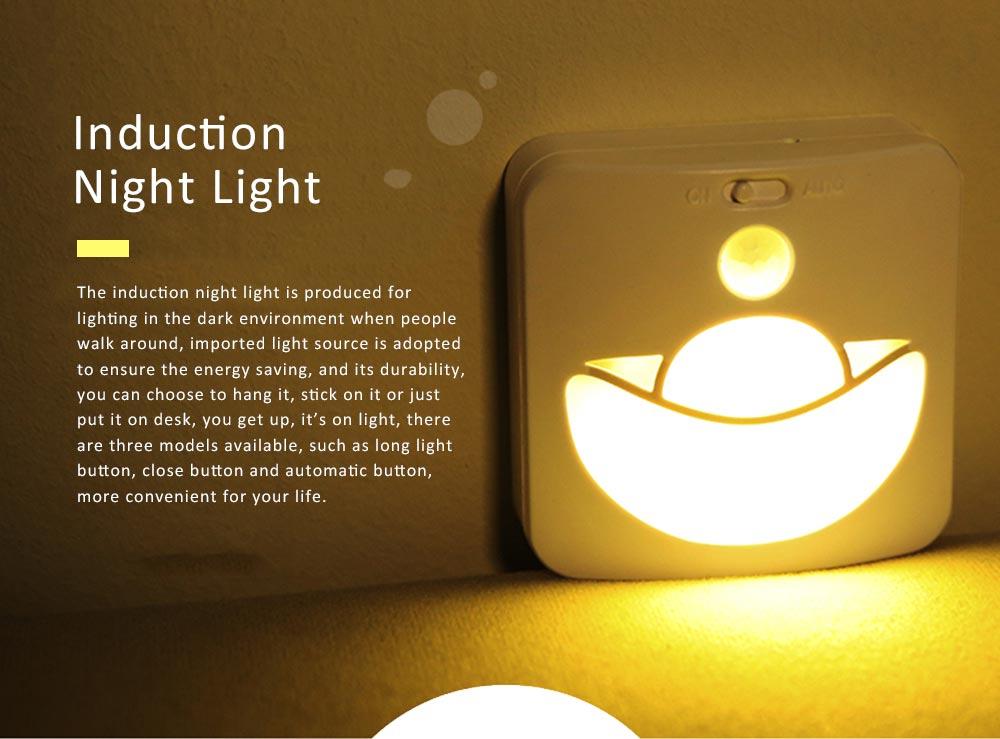 Automatic Human Body Induction Lamp, Three models Infrared Sensor Motion Detector Night Light Manual Light 0