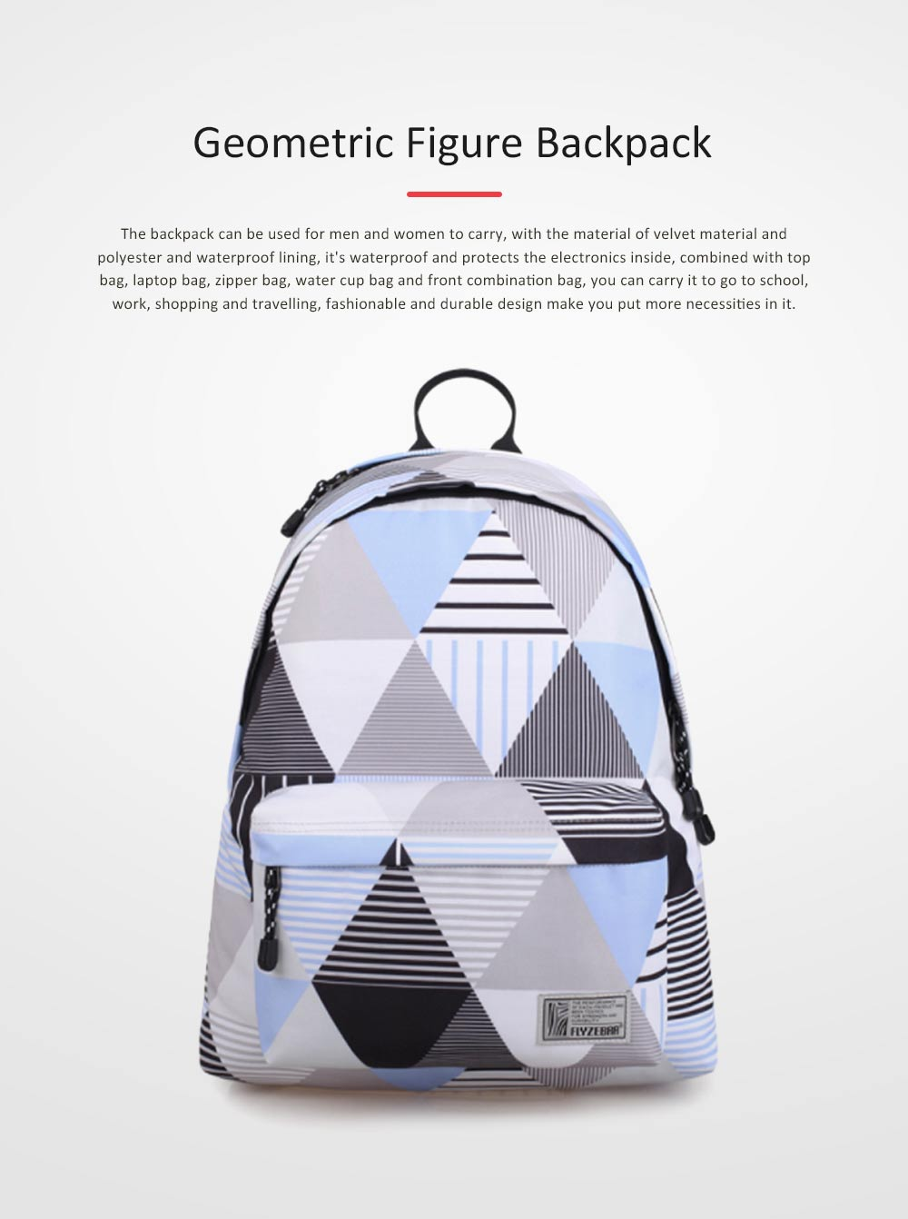 Geometric Figure Backpack for Students, Fashionable Large Capacity Casual Bag with Superior Zipper, Compatible with 10~14 inch Laptop 0