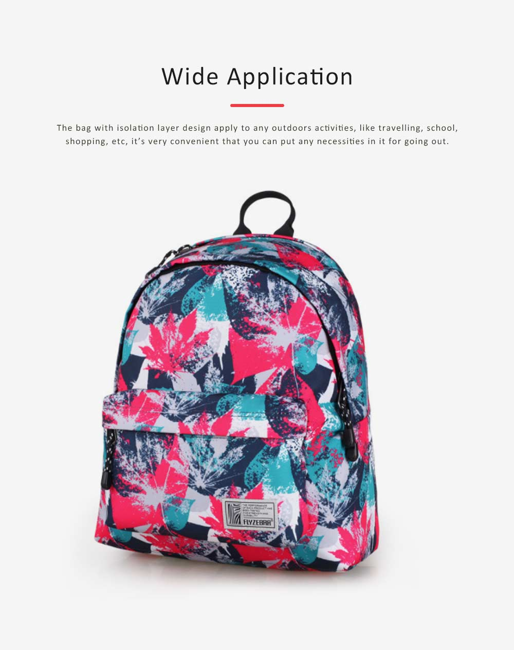 Fashion Leaves Printed Backpack with Stainless Steel Zipper, Large Capacity Casual School Backpack for Students, Teenage 2