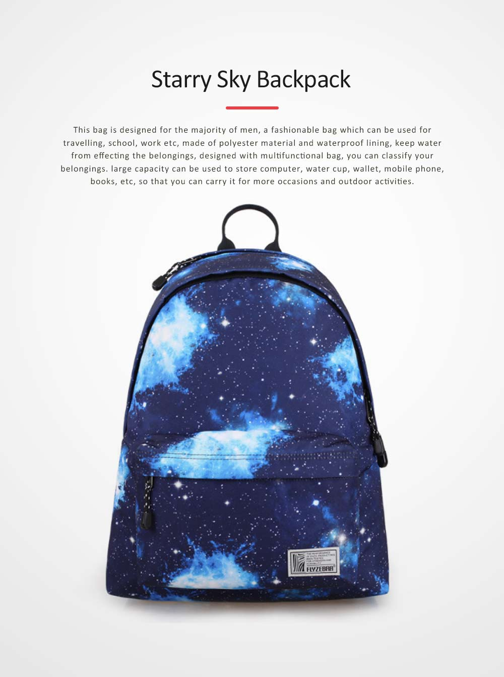 Starry Sky Backpack with Superior SBS Zipper, Fashionable Laptop Backpack for Traveling, Outdoors Shopping 0
