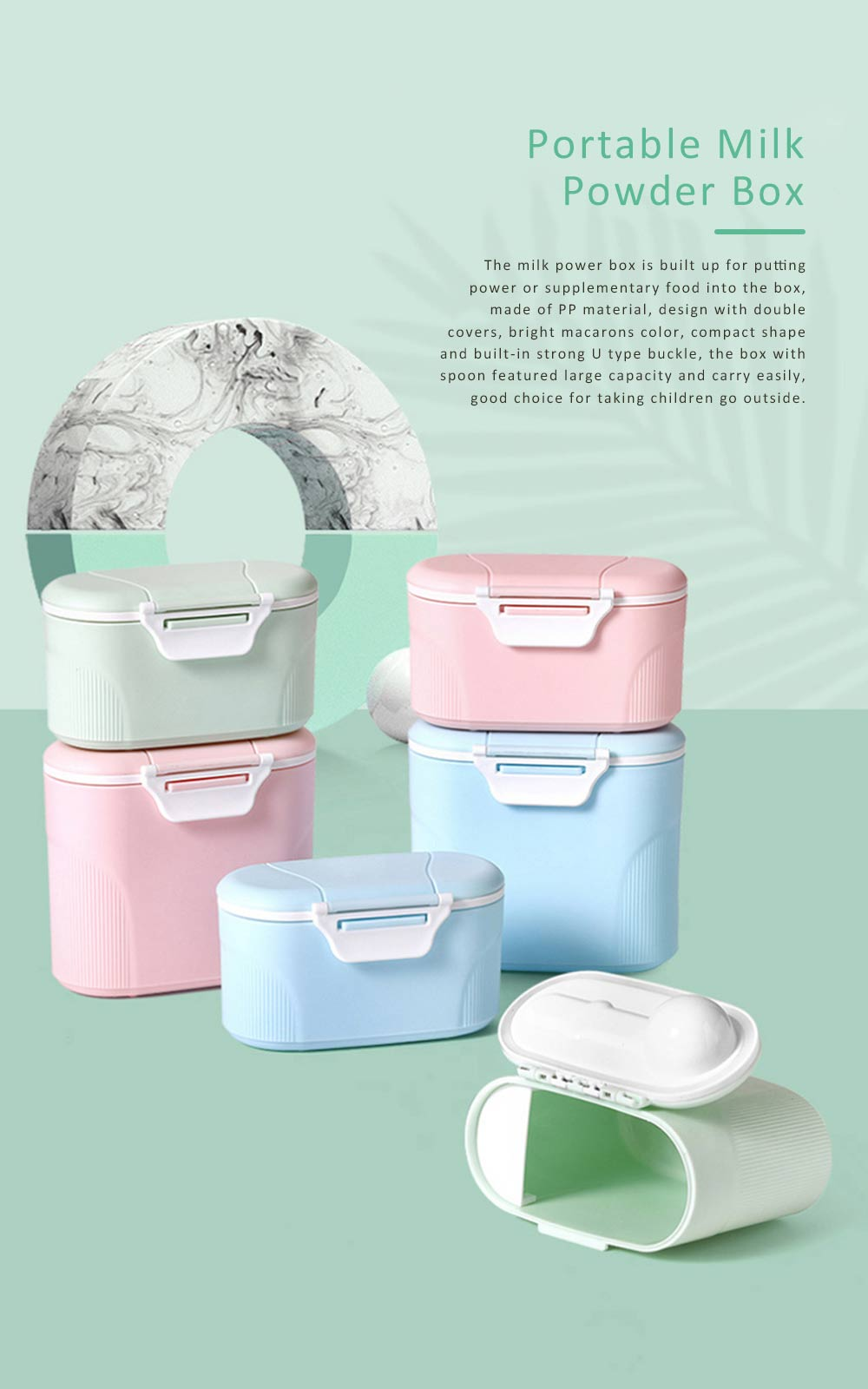 Double Covers Portable Milk Powder Box, Large Capacity Snack Box PP Material Feeding Container Dispenser 0