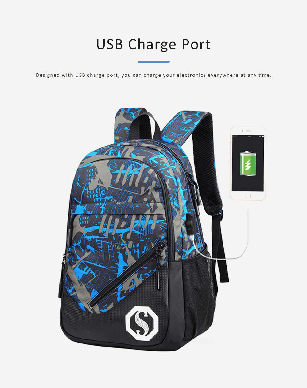 USB Charge Port Backpack for Notebook, Laptop, Waterproof Oxford School Bag for Students, Traveling 2