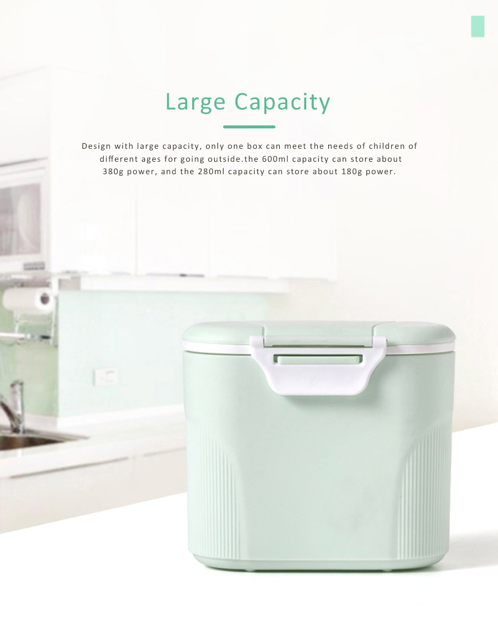 Double Covers Portable Milk Powder Box, Large Capacity Snack Box PP Material Feeding Container Dispenser 5