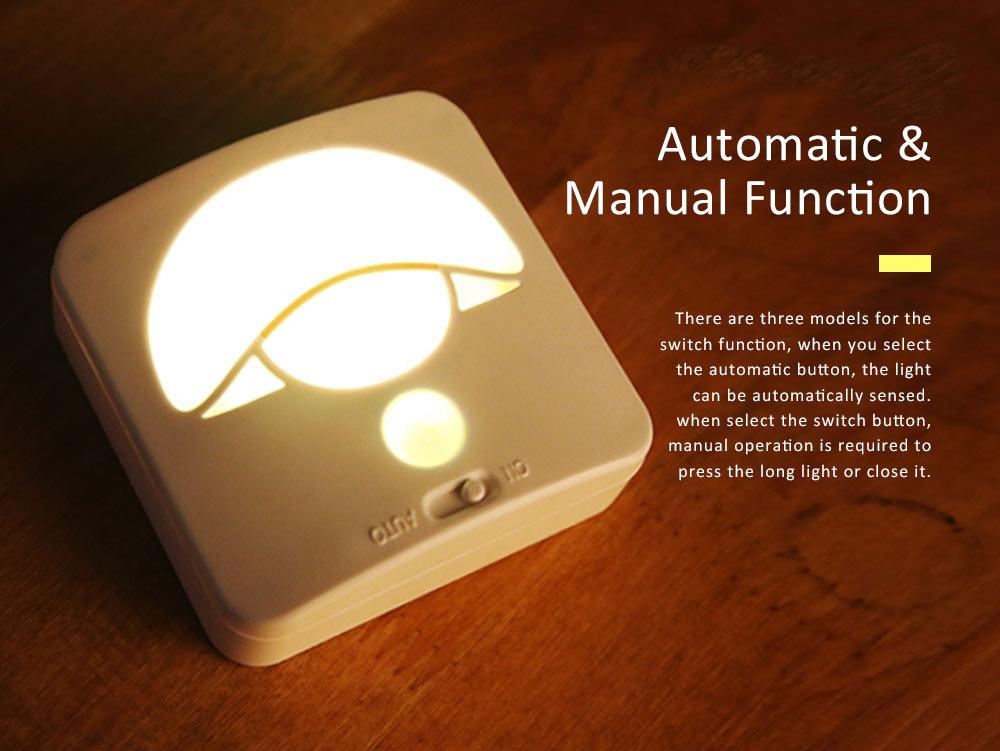 Automatic Human Body Induction Lamp, Three models Infrared Sensor Motion Detector Night Light Manual Light 2