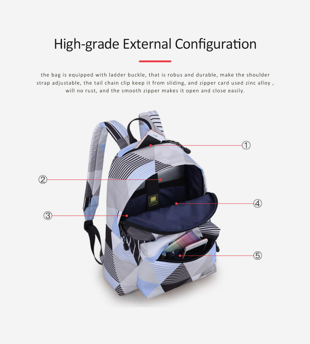 Geometric Figure Backpack for Students, Fashionable Large Capacity Casual Bag with Superior Zipper, Compatible with 10~14 inch Laptop 4