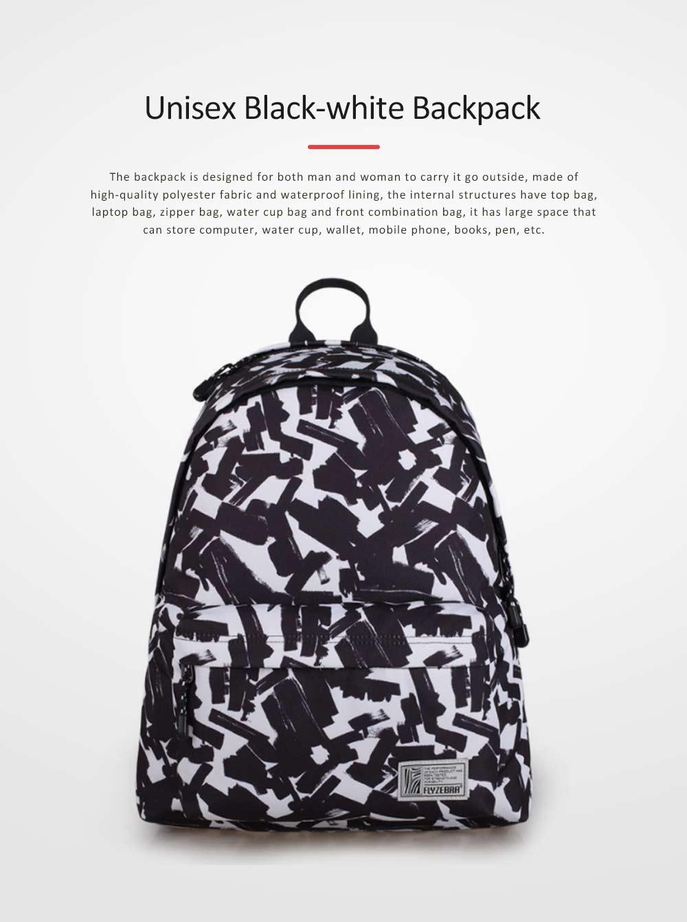 Unisex Black-white Backpack for Travel, Fashionable School Backpack for 14 inch Laptop 0