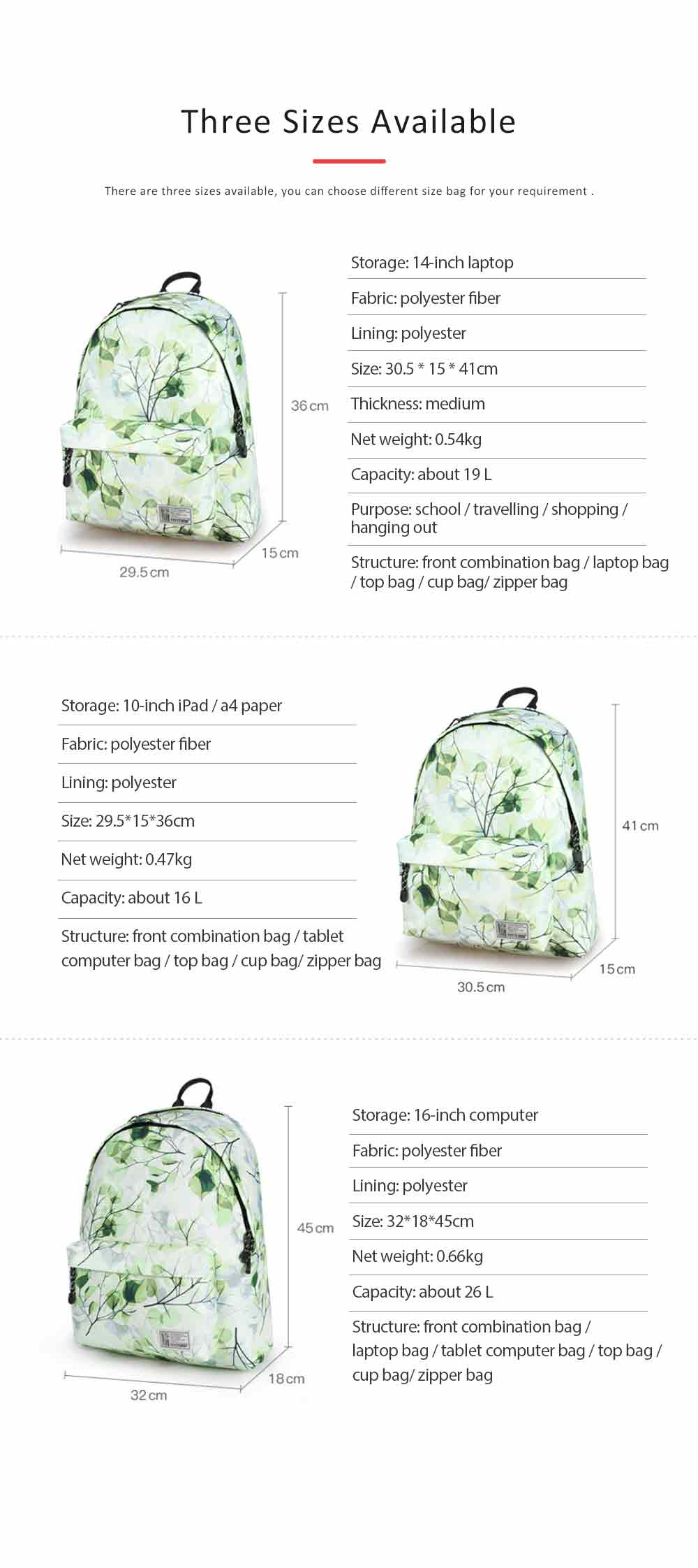 Women Backpack Polyester Durable with Zinc Alloy Zipper Waterproof Fashionable Women Pack-sack 7