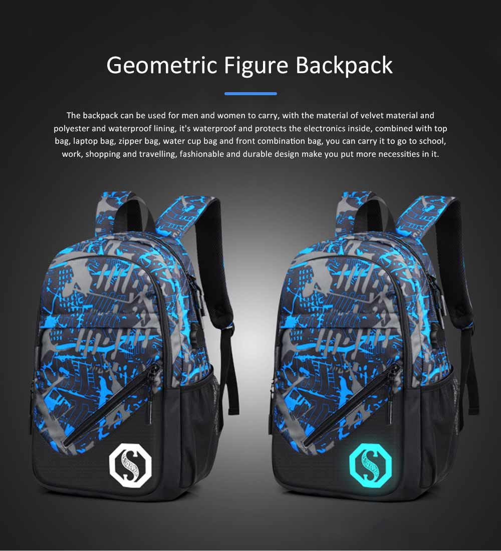 USB Charge Port Backpack for Notebook, Laptop, Waterproof Oxford School Bag for Students, Traveling 0