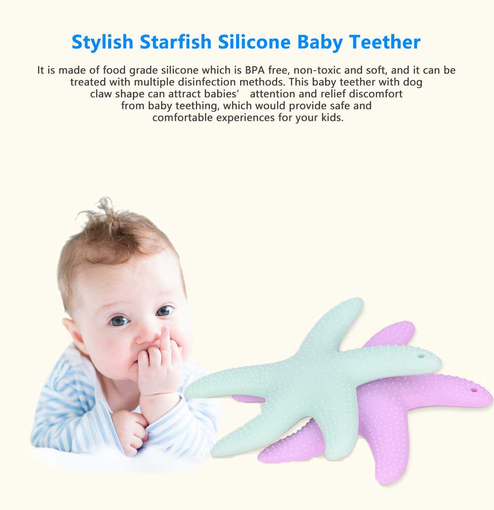Stylish Starfish Silicone Baby Teether, Safe Teething Toy for Infants 0