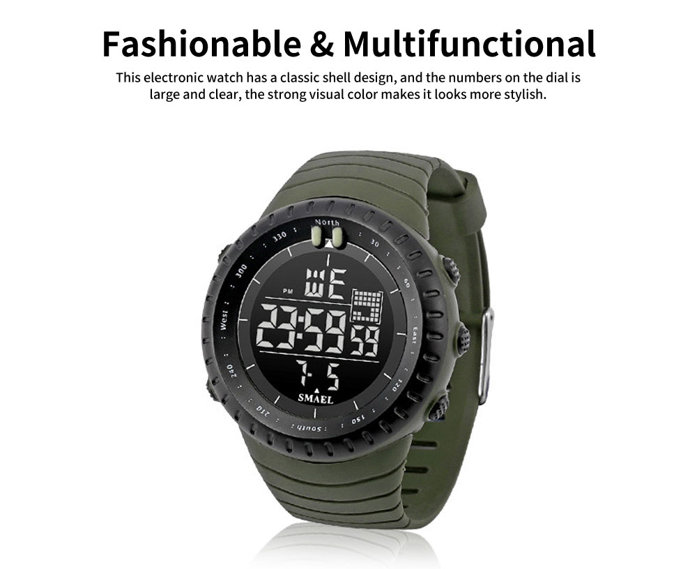 SMAEL Electronic Watch for Men & Women, Fashionable LED Dual Display Outdoor Multifunctional Sports Watch 1