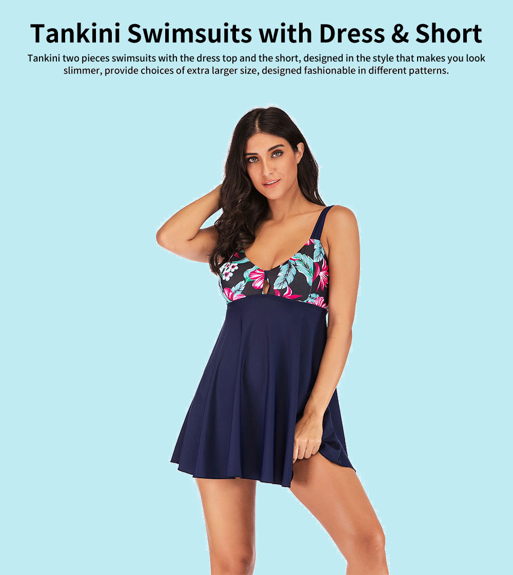 Extra Large Size Tankini Swimsuits for Women, 2 pieces Women Swimsuits with Dress and Shorts 0