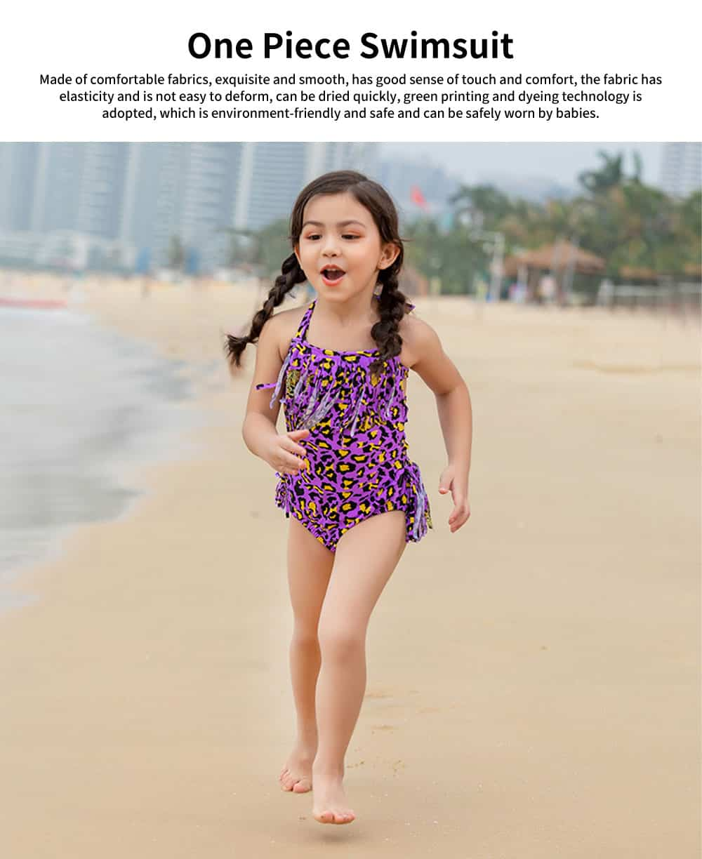 Bathing Suit One Piece Tassels Leopard Print Cute Swimsuit for Girls Hot Spring Vacation Necessary Swimsuit 0