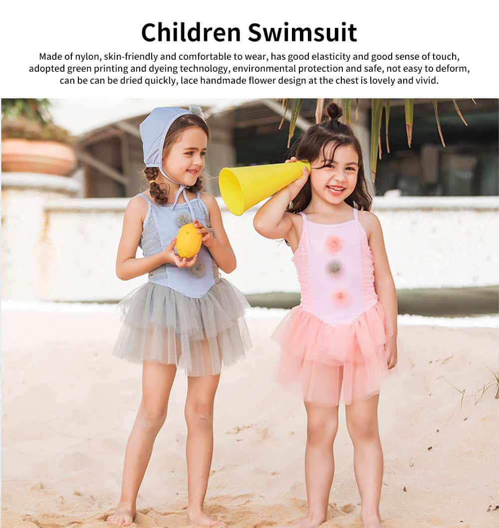 Swimsuit Cute One Piece Nylon Little Princess Skirt for Children with A Swimming Cap Bathing Suit 2019 New 0