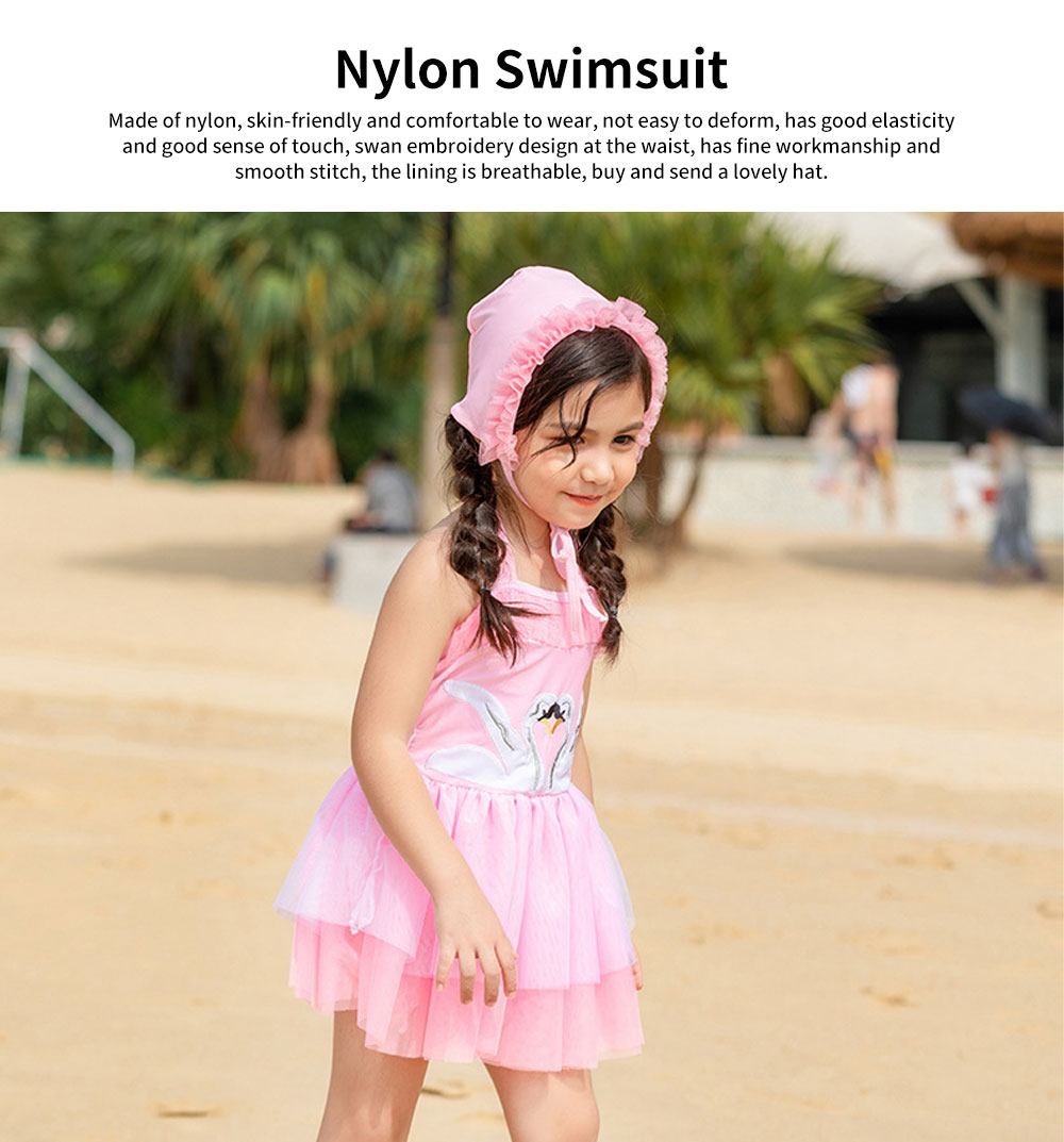 Swimsuit Cute One Piece Nylon Pleated Skirt for Children with A Hat Embroidery Bathing Suit 2019 New 0