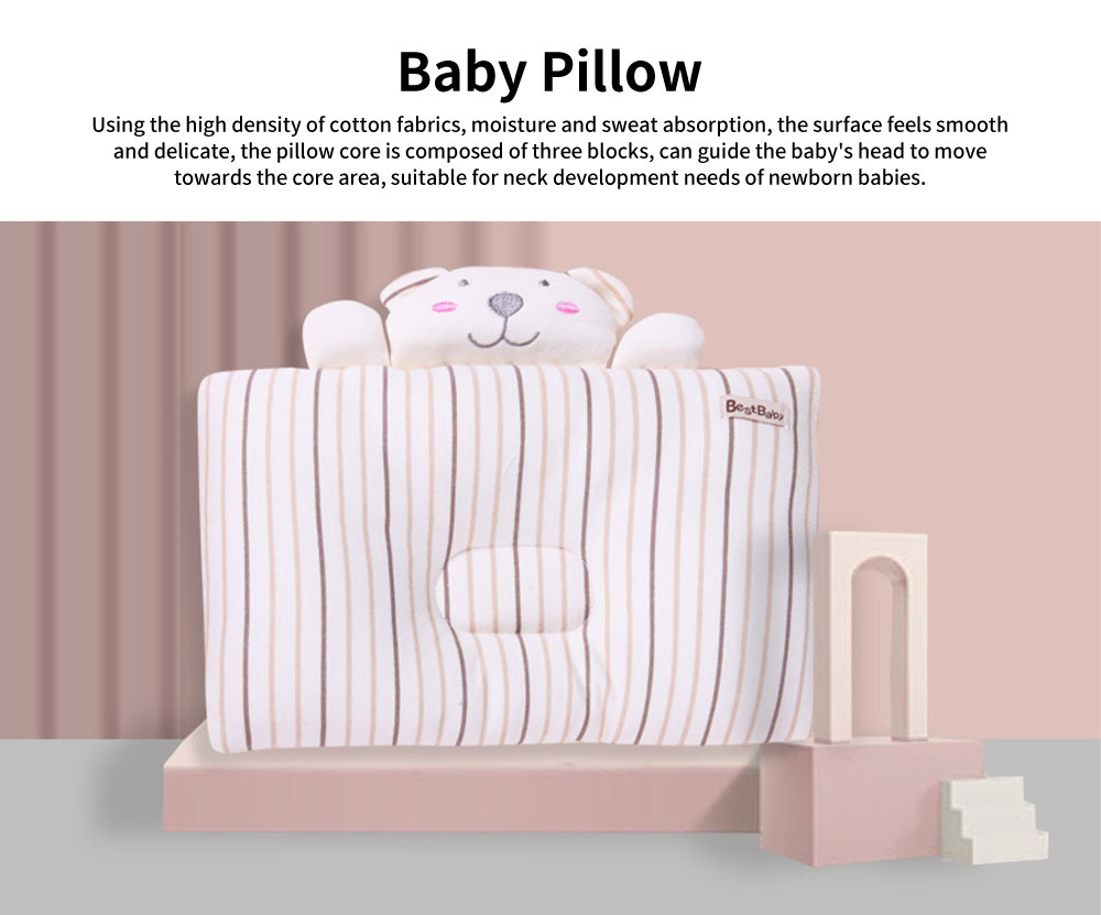 Baby Pillow Breathable Infant Cushion Sleeping Support Infant Pillow for 0 to 1 Year Baby Prevent Flat Head Pillow 0