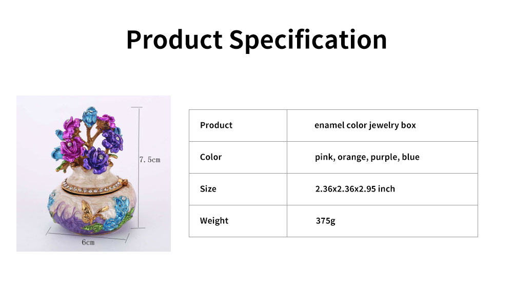 Jewelry Box High-grade Enamel Color Handmade Artwork Vase Ornaments for Household Jewelry Case 6