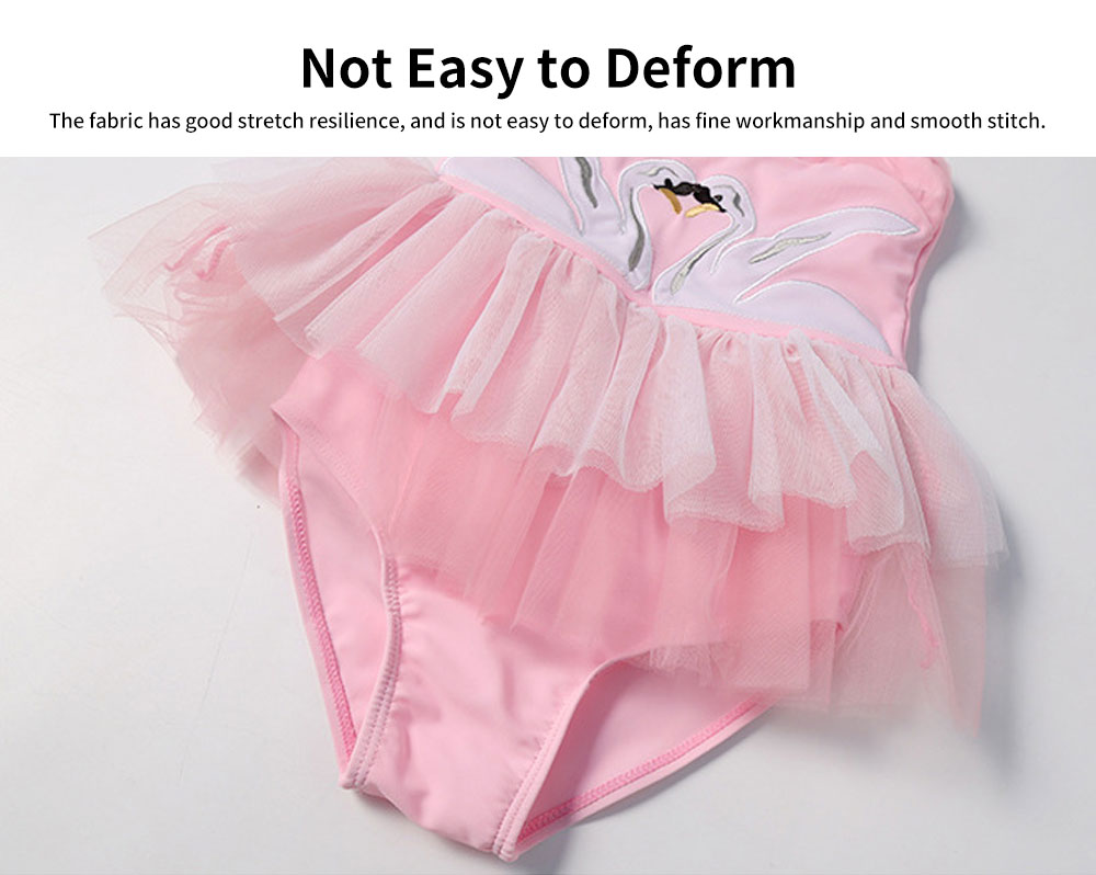 Swimsuit Cute One Piece Nylon Pleated Skirt for Children with A Hat Embroidery Bathing Suit 2019 New 3