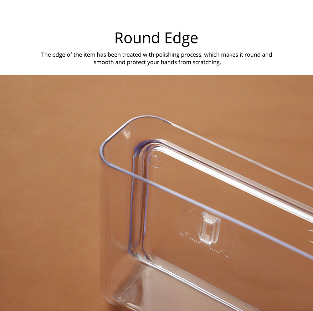 Delicate Wall-Mounted Bedside Living Room Shelf Stand, Transparent Solid PS Plastic Tidy Storage Box 2