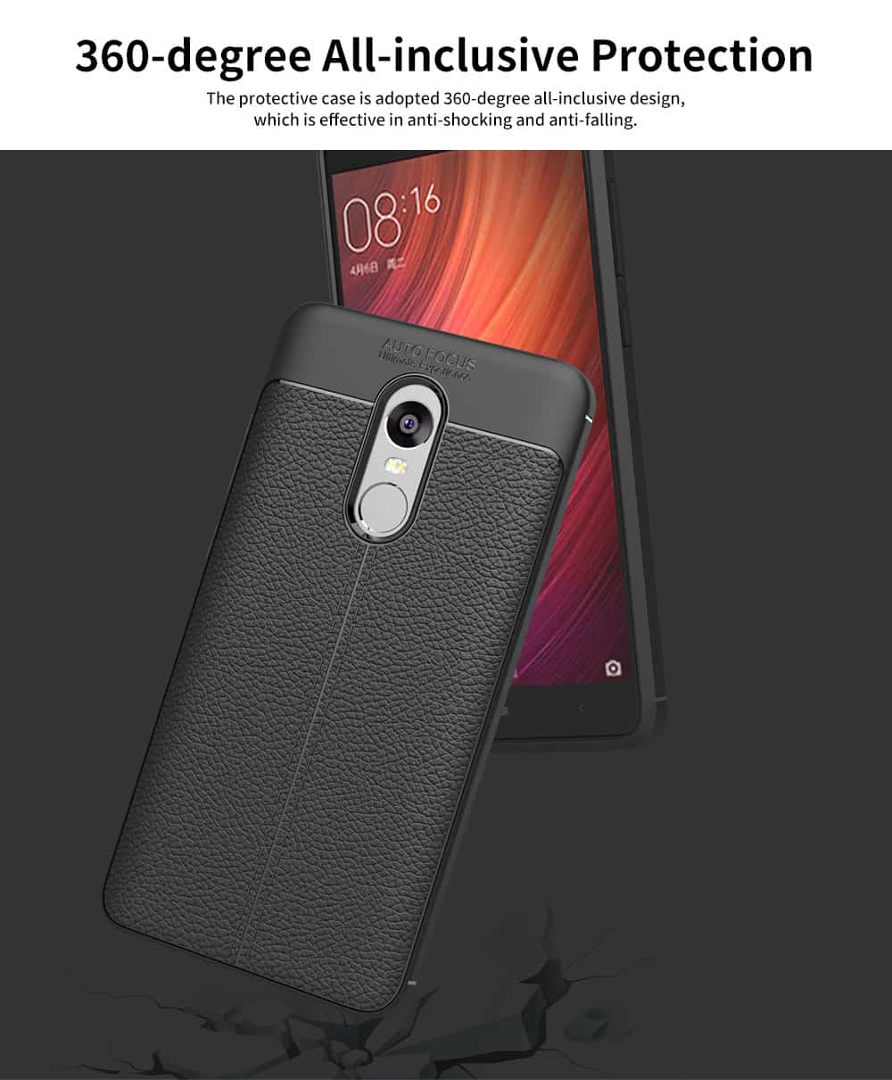 Mobile Phone Case for RedMi 4x & Note 4x & Note 4, TPU Litchi Grain Durable Fashionable New Protective Case 2