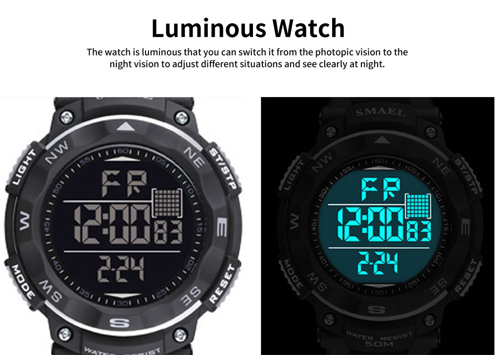 Digital Sport Watch for Teenagers, Boys, Students, Water-proof Multifunctional Luminous Digital Watch 1