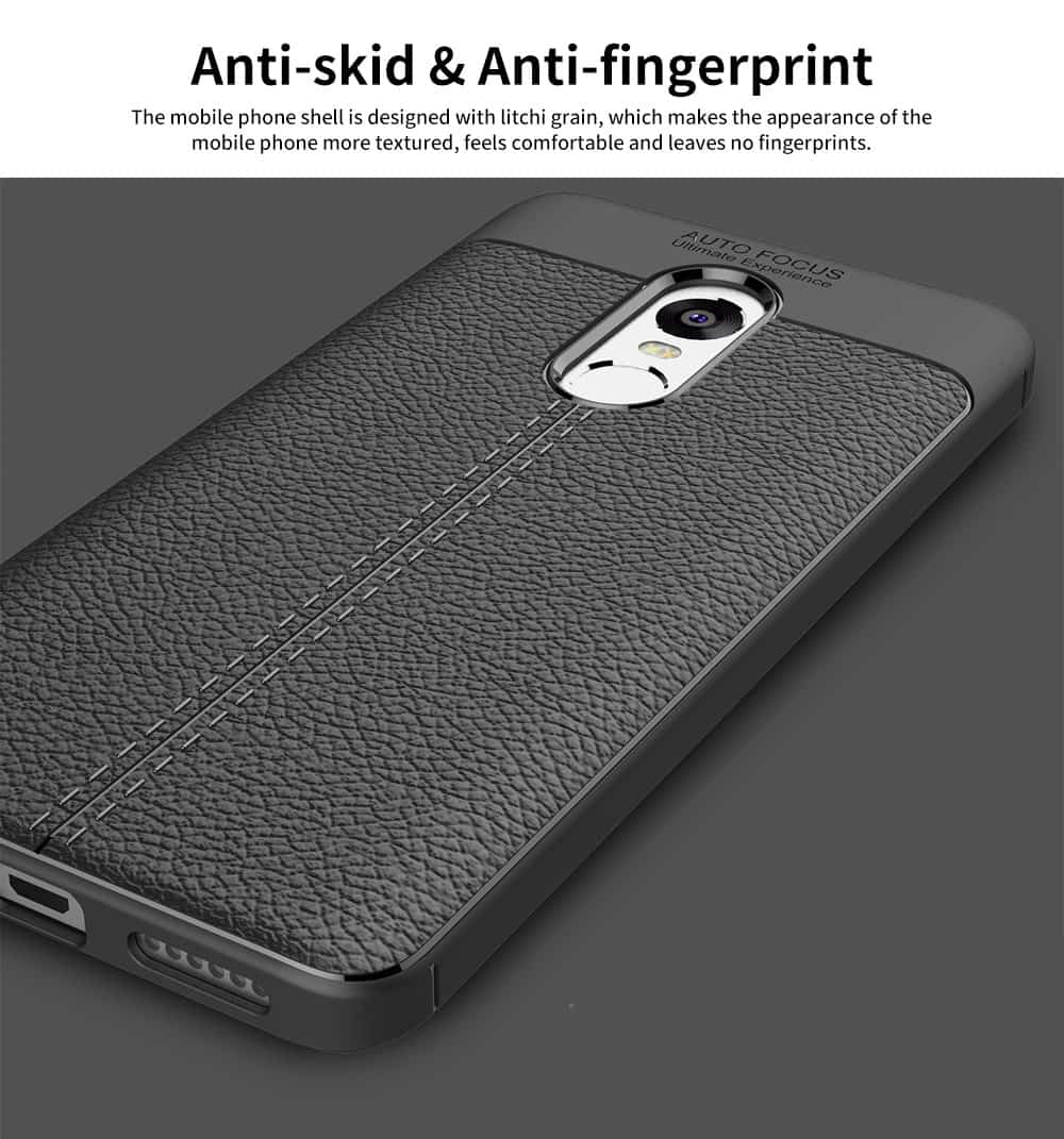 Mobile Phone Case for RedMi 4x & Note 4x & Note 4, TPU Litchi Grain Durable Fashionable New Protective Case 4
