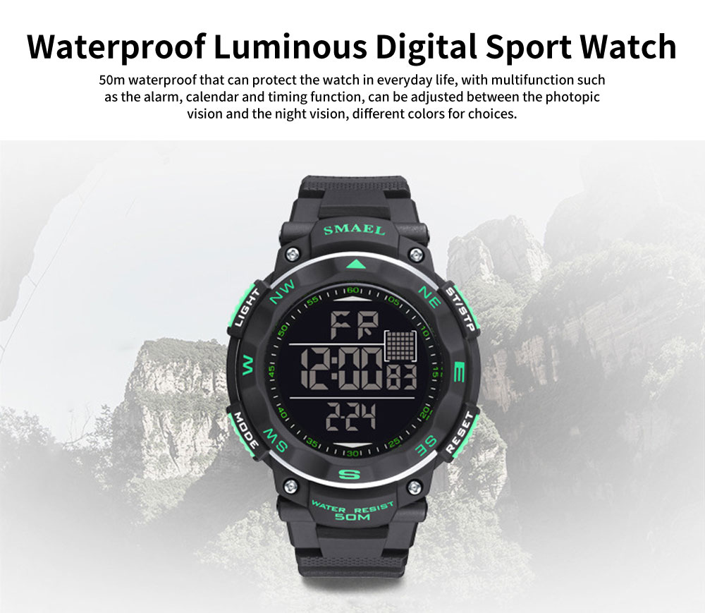 Digital Sport Watch for Teenagers, Boys, Students, Water-proof Multifunctional Luminous Digital Watch 0