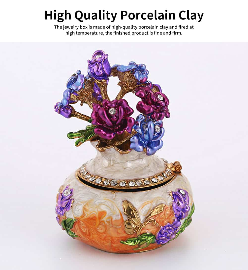 Jewelry Box High-grade Enamel Color Handmade Artwork Vase Ornaments for Household Jewelry Case 3