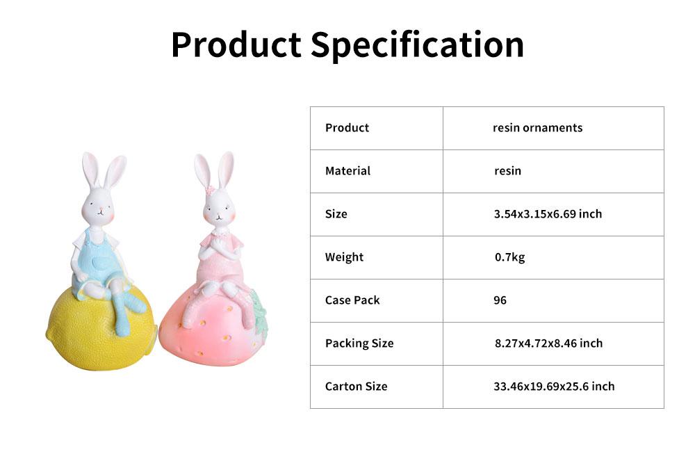 Creativity Cartoon Fruit Rabbit Decoration for Household Valentine's Day Cake Decoration Resin Ornaments 6