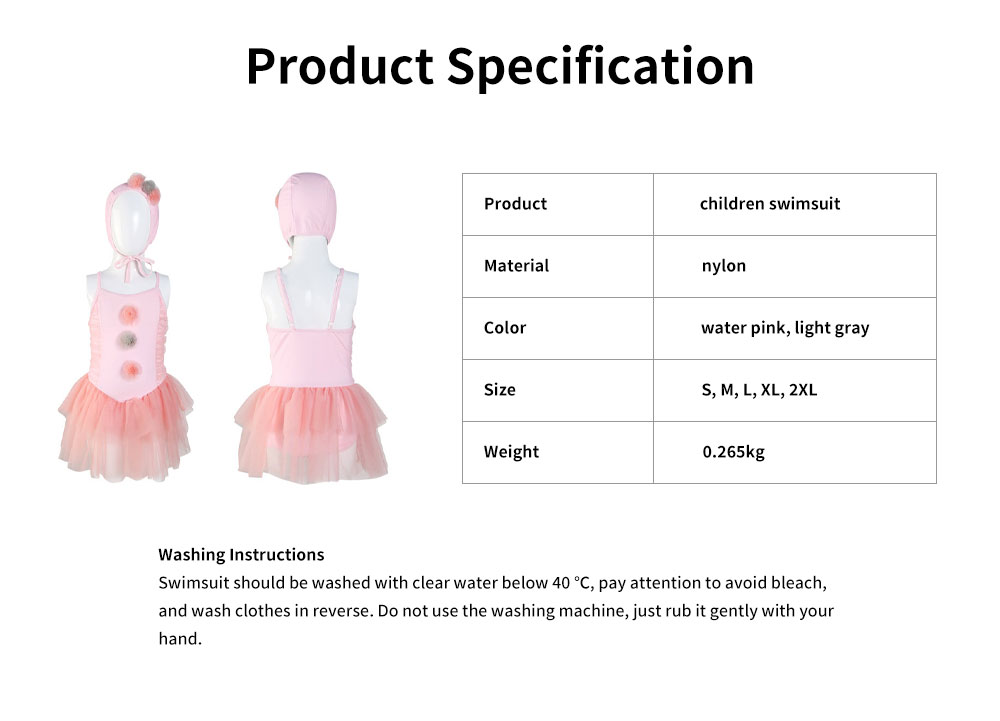 Swimsuit Cute One Piece Nylon Little Princess Skirt for Children with A Swimming Cap Bathing Suit 2019 New 6