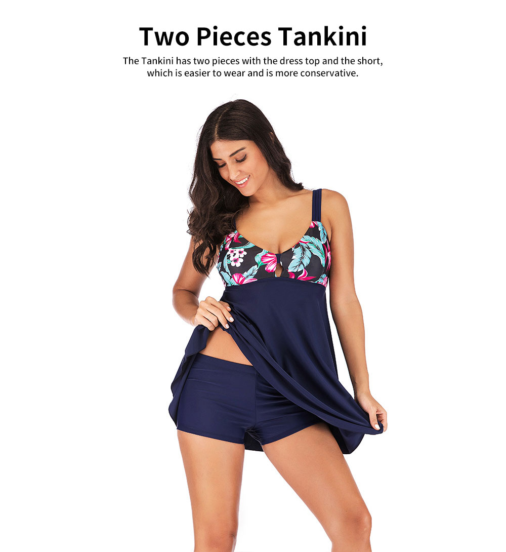 Extra Large Size Tankini Swimsuits for Women, 2 pieces Women Swimsuits with Dress and Shorts 1