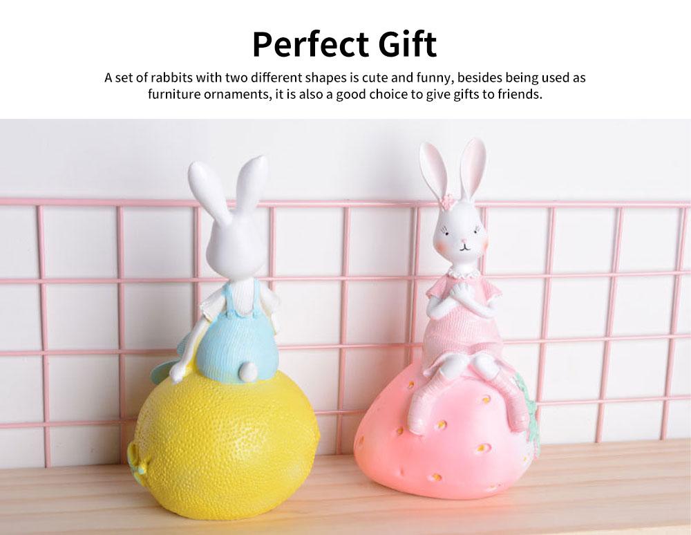 Creativity Cartoon Fruit Rabbit Decoration for Household Valentine's Day Cake Decoration Resin Ornaments 5