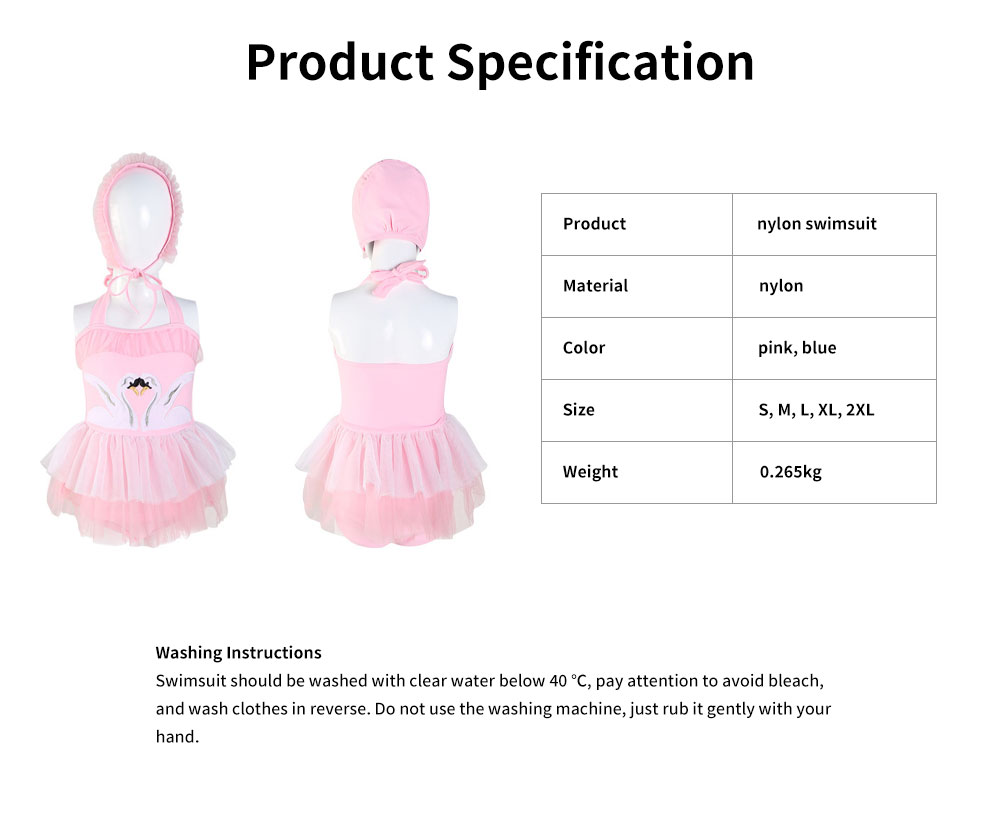 Swimsuit Cute One Piece Nylon Pleated Skirt for Children with A Hat Embroidery Bathing Suit 2019 New 6