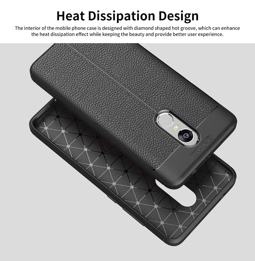 Mobile Phone Case for RedMi 4x & Note 4x & Note 4, TPU Litchi Grain Durable Fashionable New Protective Case 5