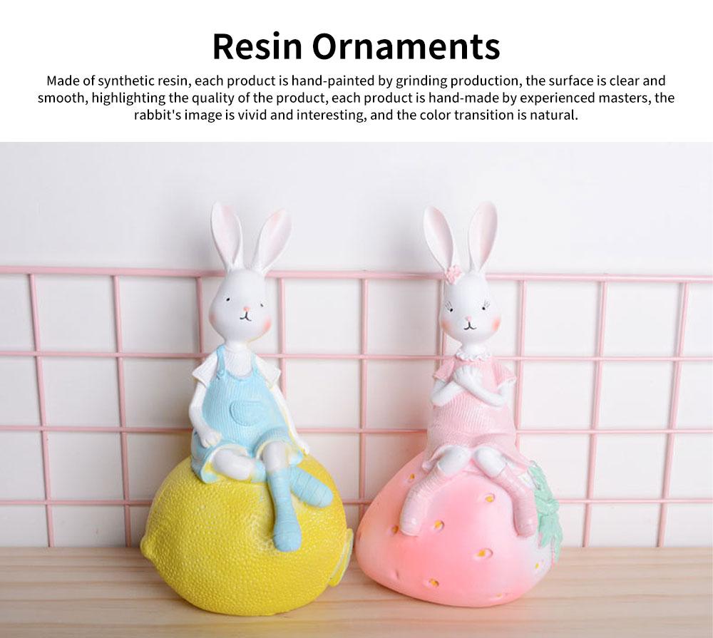 Creativity Cartoon Fruit Rabbit Decoration for Household Valentine's Day Cake Decoration Resin Ornaments 0