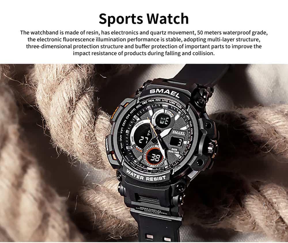 Electronic Quartz Outdoor Sports Watch for Men Waterproof Multifunctional Stylish Watch 0
