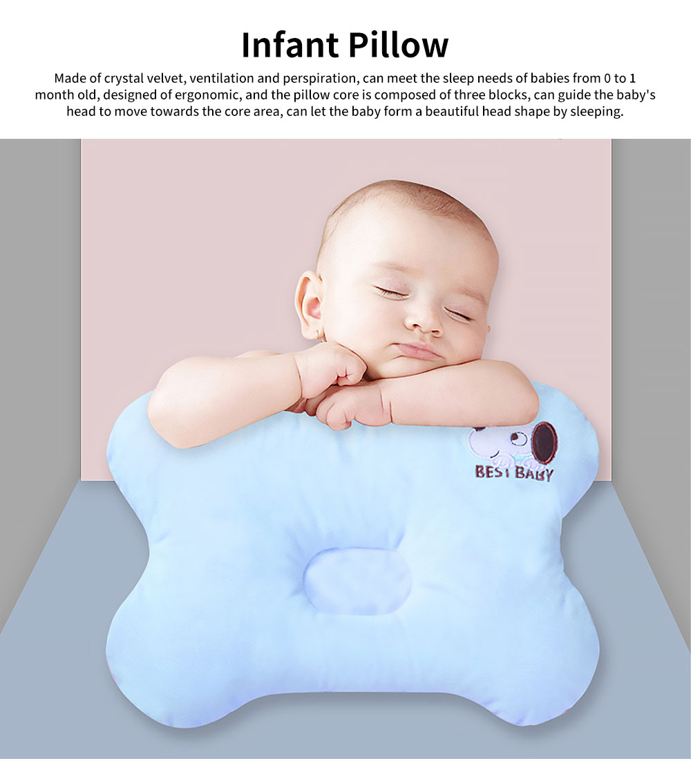 Baby Pillow Four Seasons Crystal Velvet Infant Cushion Sleeping Support Infant Pillow for 0 to 1 Year Newborns Prevent Flat Head Pillow 0